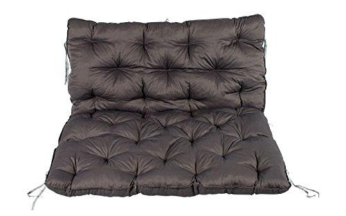Meerweh Palettenkissen mit Rückenteil und Sitzkissen mit Bänder ca. 120 x 140 cm Palettenauflage grau