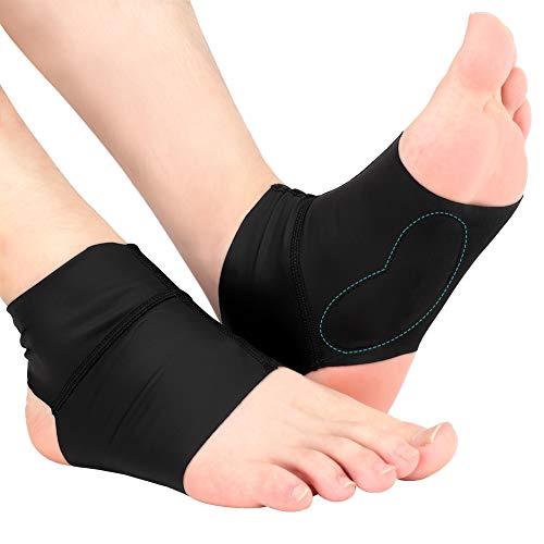 Bågfotledsstöd ärmar för platta fötter, plantar fasciitis valvstrumpor med gelkuddar, kompression ankel hålfotsvep för män och kvinnor, hälsporre, platt fot, hög/låg båge, 1 par