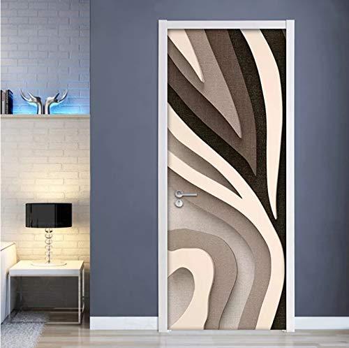 Mural Para Puerta Dormitorio De La Sala De Estar De La Pared Creativa A Rayas De La Moda 3D Desmontable Autoadhesivo Papel Pintado Puertas 90 X 200 cm