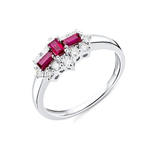 Miore Ring Damen Ruby und Diamant Verlobungsring Weißgold 9 Karat / 375 Gold mit roter Ruby 0.62 Ct und Diamanten Brillanten 0.35 Ct, Schmuck
