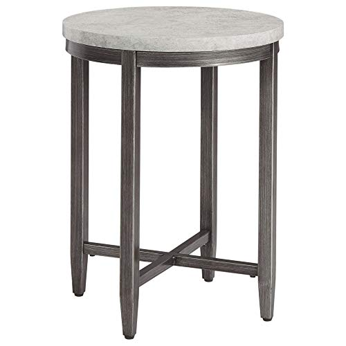 Benjara Round Shape End Table with Faux Concrete Top, Gray and Black
