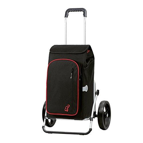 Andersen Chariot de courses Royal XXL avec sacoche Toto noire, volume 56L, poche isotherme, cadre aluminium et roues à 3 rayons