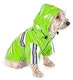 PET LIFE 'Reflecta-Glow' PVC Waterproof Fashion Insulated Adjustable and Reflective Pet Dog Coat Jacket Raincoat w/ Removable Hood, Medium, Lime Green