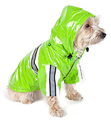 PET LIFE 'Reflecta-Glow' PVC Waterproof Fashion Insulated Adjustable and Reflective Pet Dog Coat Jacket Raincoat w/ Removable Hood, X-Small, Lime Green