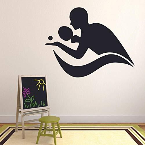 Spielen Sie Tischtennis Wall Decal Sport Ping Pong Silhouette Tür Fenster Vinyl Aufkleber Teen Schlafzimmer Gym Stadium Interior Decor 42x53cm