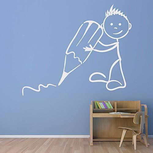 yaonuli Divertida calcomanía de Pared decoración de la habitación del niño pequeño Que sostiene un lápiz para Dibujar la Etiqueta de la Pared de Vinilo 63X73cm
