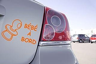 Zone-Stickers Sticker Voiture Bébé à Bord Sucette - 10cm x 6,5cm, Orange