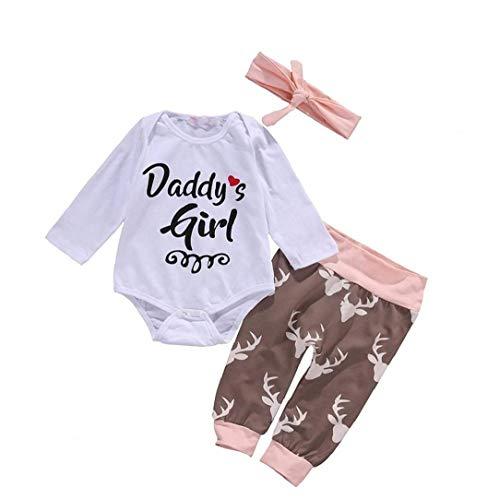 Unicoco 3 Pc-Neugeborene Baby-Langarm-Body Mit Kapuze Hirsch Pullover Tops Hosen Outfits Set Stirnband