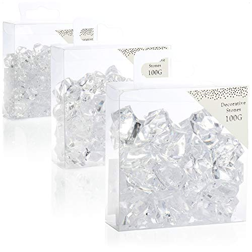 com-four® 3X 100g Piedras Decorativas - Piedras de Cristal de arilo Transparente - en Diferentes tamaños para decoración de Mesa [la selección varía]