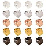 PandaHall - Juego de 30 anillos de latón de 5 colores para anillos rectangulares y base de anillo ajustable para decoración de joyas