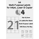 Etiquetas A4 FBA 21 por hoja; Paquete adecuado para etiquetas de código de barras autoadhesivas de productos de Logística de Amazon. Para inyección de tinta o láser. (21 por hoja / 100 hojas)
