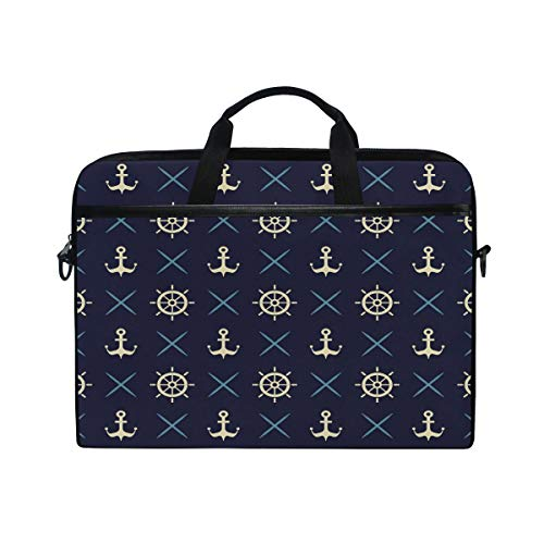 WowPrint Laptop Sleeve, Ocean Navy Anchor Laptop Case Shoulder Strap with Handle Portable Notebook Computer Bag for 13 13.3 14 15 inch