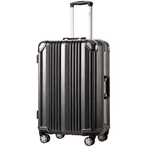 COOLIFE-Hartschalen Fashion Koffer • Alu Rahmen • Polykarbonat Material • Reisegepäck Reisetrolley Trolley • mit TSA-Schloss und 4-Doppelrollen, die 360° drehbar sind (Schwarz, Großer Koffer)