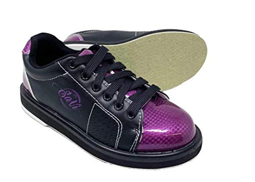 SaVi Bowling Products Women's Classic Purple/Black Bowling Shoes_Ladies Lace Up w/Universal Soles for Right or Left Handed Bowlers from Beginners to Professionals (9.5)