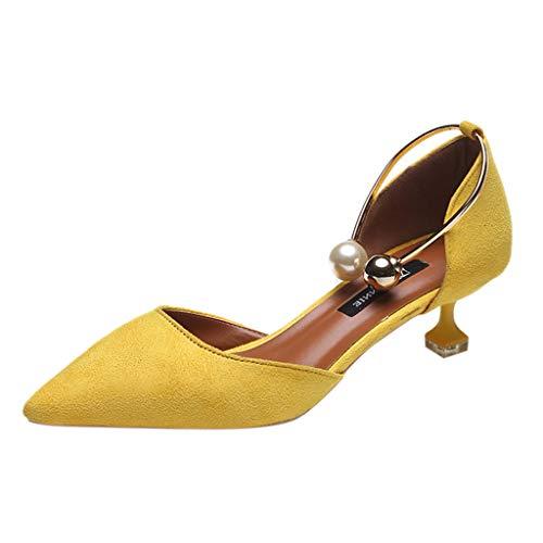 Lilicat Donna Estate Scarpe col Tacco Stiletto Elegante Caviglia Pompe Partito Sandali con A Punta Alta Scarpa Casual Scarpe Casual con di Perle Decorazione(Giallo,38 EU)