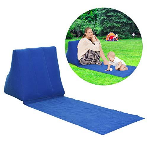 Soundwinds Portable Tapis de plage gonflable Bain de soleil Plage Lit Lit pliant de jardin Triangle bains de soleil Tapis de coussin de dos Chaise pour pique-nique Camping, bleu