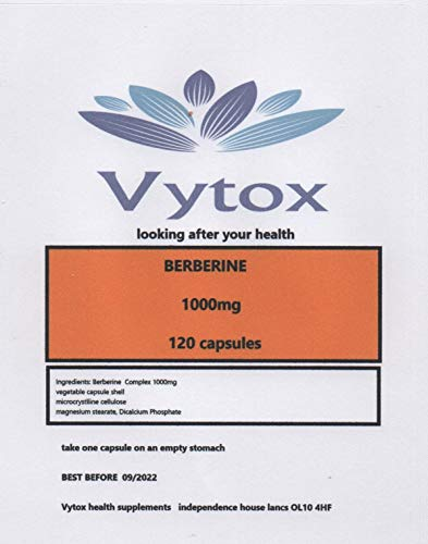 Berberine Extract 1000mg 120 Capsules Vegan Organic Capsules 100% Natural by Vytox. 4 Months Supply