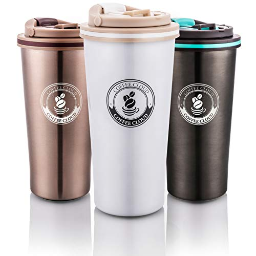 Coffee Cloud Edelstahl Kaffeebecher 500ml | Doppelwandig vakuumisolierter Travel Mug | Thermobecher aus Edelstahl | Isolierbecher BPA Frei, Leicht & Auslaufsicher (Weiß)