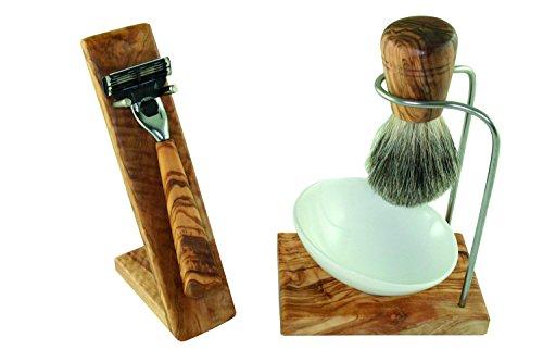 D.O.M. Shaving Set 5-Piece Olive Wood with Porcelain Bowl Type 2