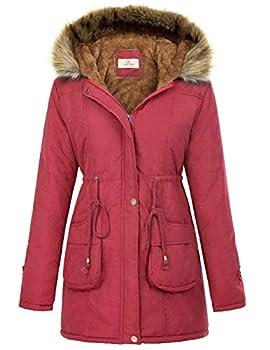 Womens Military Hooded Winter Thicken Fleece Parkas Anroaks Long Coats M Red