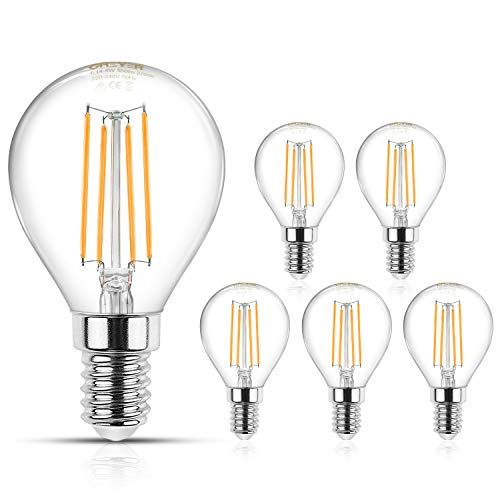 Creyer E14 Filament LED Lampen G45 - E14 LED Birne, 550Lumens, Ersetzt 50W Glühlampen, Warmweiß(2700K) Energiesparlampe, Nicht Dimmbar, Filament Fadenlampe, Glas, AC 220V-240V - 5er Pack