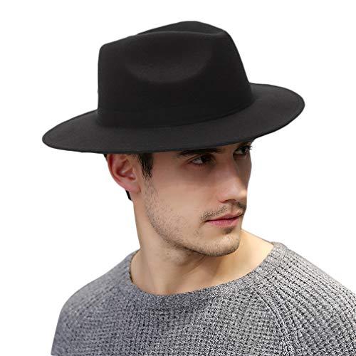 DEMU Herren Hut mit breiter Krempe Filzhut Bogarthut Outdoorhut Travellerhut mit Ripsband (Schwarz)