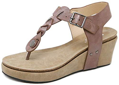 Hishoes 2019 Sandalias Mujer Chanclas Tacon del Verano Cómodos Zapatos Bohemias Las Sandalias Planas