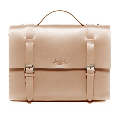 SID & VAIN® Aktentasche Boston - Unisex Laptoptasche groß Ledertasche fit für 15, iPad mit Extra-Abtrennung - Businesstasche mit Schultergurt formstabiles Sattelleder Damen und Herren Camel-beige