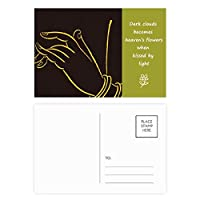 仏教の宗教のブラック・イエロー・ハンド 詩のポストカードセットサンクスカード郵送側20個