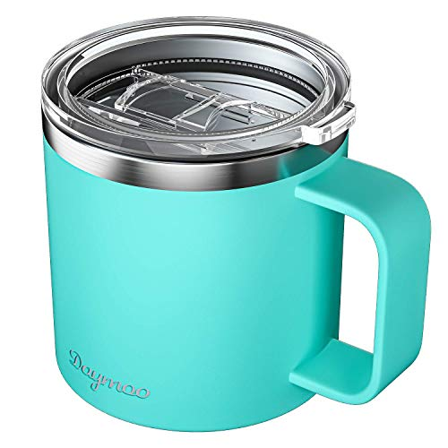 DAYMOO Coffee Travel Mug–16Oz Stainless Steel Tumbler–Double Walled Insulation Reusable Coffee Cups with Lids–Ergonomic Handle–Non-Rust and Sweatproof–Elegant and Modern Design(Cyan Blue)