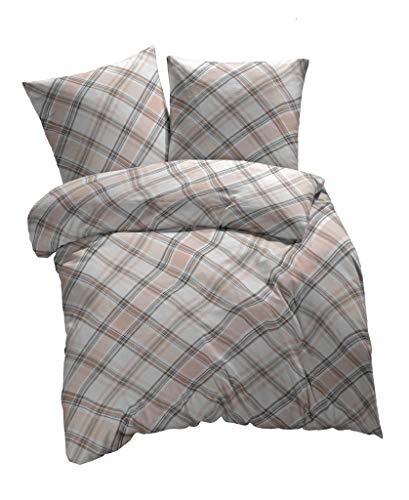 etérea - Juego de ropa de cama (algodón, 135 x 200 cm + 80 x 80 cm, funda nórdica y funda de almohada con cremallera, 2 piezas, color marrón