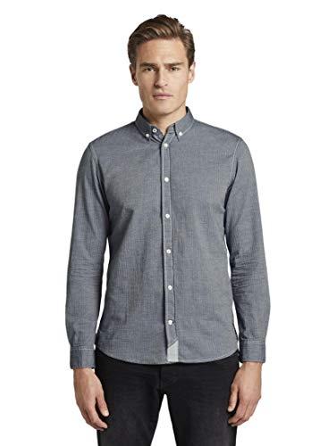 TOM TAILOR Herren Blusen, Shirts & Hemden Hemd in Twill-Optik Navy Herringbone Structure,M