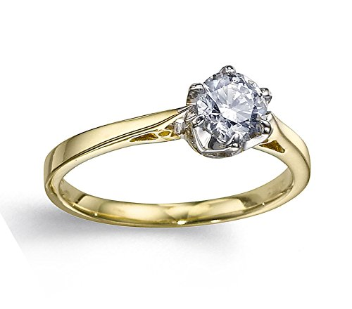 Anillo de oro amarillo con diamante natural de 1 / 3ct premium calidad_9,5