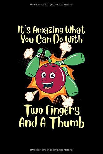 Bowling Notizbuch 2 Finger und ein Daumen: Notizbuch kariert 120 karierte Seiten Din A5 perfekt als Matheheft, Skizzenbuch, Arbeitsheft, Tagebuch Bowling Geschenk