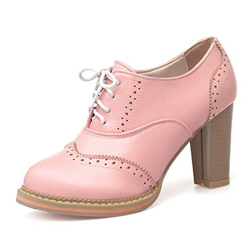 MIOKE Women's Chunky High Heel Oxford Pump Lace Up Wingtip Perforated Platform Brogues Vintage Dress Shoes Pink
