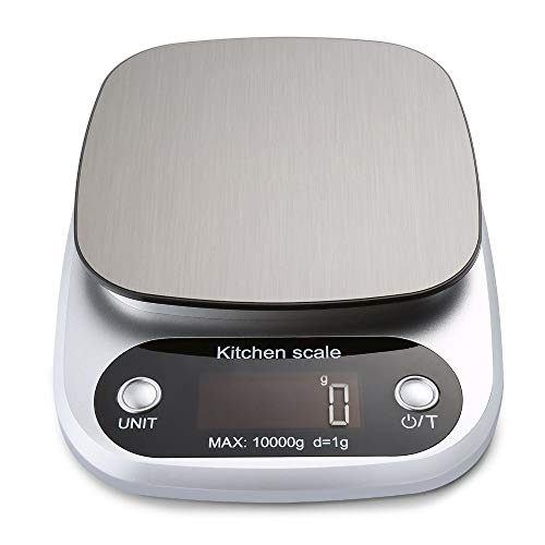 Jwkcm Digital Kitchen Scale,10Kg Food Scale Multifunction Weight Scale Electronic Baking & Cooking Scale with LCD Display Silver,Gray