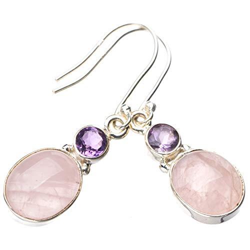 StarGems Pendientes de cuarzo rosa natural y amatista hechos a mano de plata de ley 925 de 3,8 cm E1100