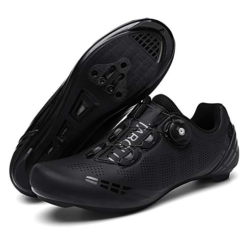 KUXUAN Calzado de Ciclismo Al Aire Libre Bicicletas de Carretera Calzado con Candado Calzado de Bicicleta Bicicletas de Montaña para Hombres y Mujeres,Black-5UK=(240mm)=38EU