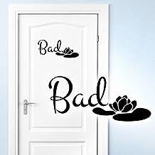 Grandora Muursticker Bad + Seerose I violet (B x H) 40 x 18 cm I badkamer muursticker badkamer muursticker toilet deurstic...
