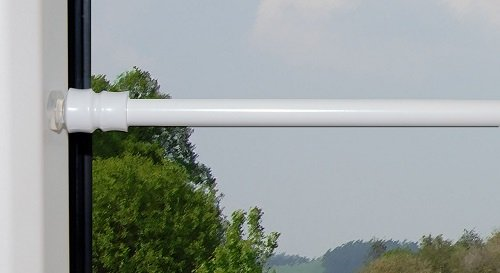 Jellinghaus Sonnenschutz Klemmstange Flex mit Saugknopf in Silber oder weiß für Fenster Gardinen Vitragen 40-60 cm, 60-90 cm, 80-120 cm (weiß, 60-90 cm)