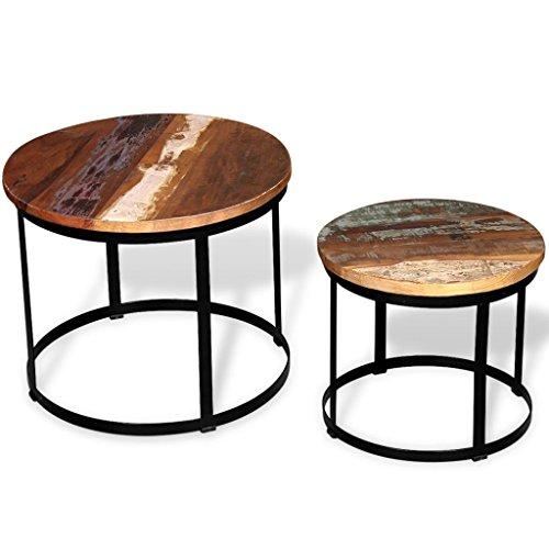 vidaXL Massivholz 2-TLG. Couchtisch-Set Beistelltisch Kaffeetisch Rund 40cm/50cm, Holz, Mehrfarbig, One Size