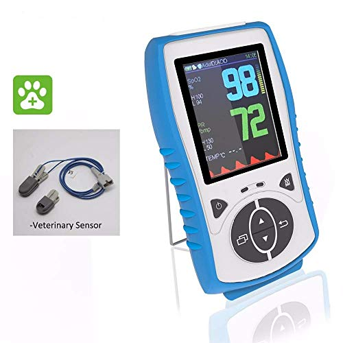 PRCMISEMED Plus oximeter Handheld Pulse Oximeter with Veterinary Sensor Standard 30Day Guarantee Just for Veterinary use White