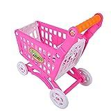 Carro de Compras de plástico para niños, los niños pequeños juegan al supermercado Supermercado Puesto de Mercado para niños Carro de Compras con Frutas y Verduras Comestibles (Rosy Red)