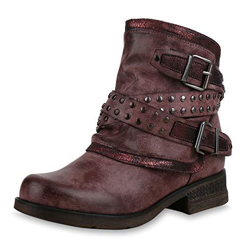 SCARPE VITA Damen Stiefeletten Biker Boots Leicht Gefütterte Schuhe Metallic 169172 Altrosa 36