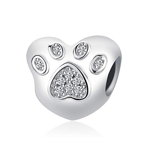 SBI Jewelry Heart Charm for Bracelet I Love My Dog Charm Pet Paw Print Bead Charm Gift for Mum Wife Daughter