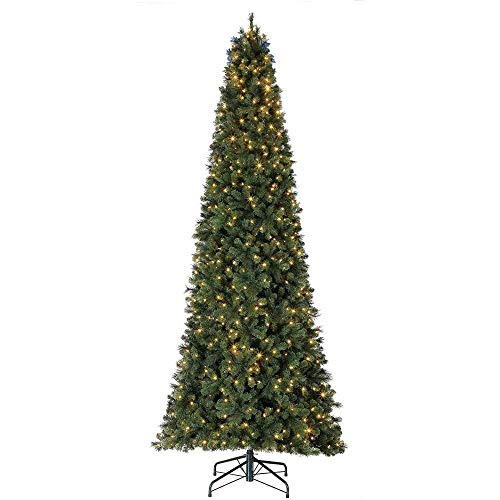 Home Heritage 12 Foot Cascade Cashmere Quick Set Christmas Tree with Changing White and Colorful LED Lights