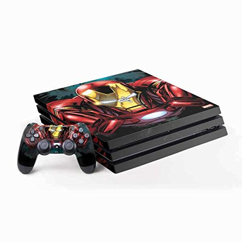 Skinit Decal Gaming Skin Compatible with PS4 Pro Console and Controller Bundle - Officially Licensed Marvel/Disney Ironman Close up Design