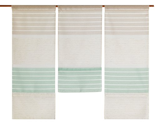 Decocompany Home Design Mini Flächenvorhang Set Natur/beige/Mint 2286 | 3 Teile | Scheibengardine Gesamtbreite 90cm (3x30cm) Höhe 80/60/80cm
