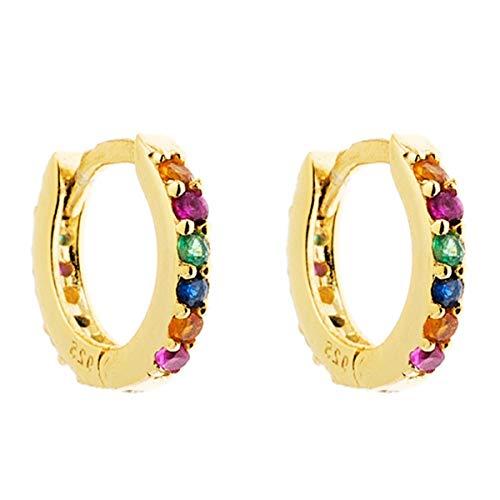 Iyé Biyé Jewels - Pendientes Aros 10 mm Circonitas Colores Plata de Ley 925M Baño Oro Amarillo Mujer Niña Cierre de Clip