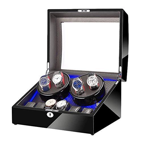 FFAN Enrollador de Reloj automático 4 + 6 Caja de Enrollado de Reloj Almacenamiento Luz LED Azul Acabado de Pintura de Piano Motor silencioso para Hombre Relojes de Mujer Good Life